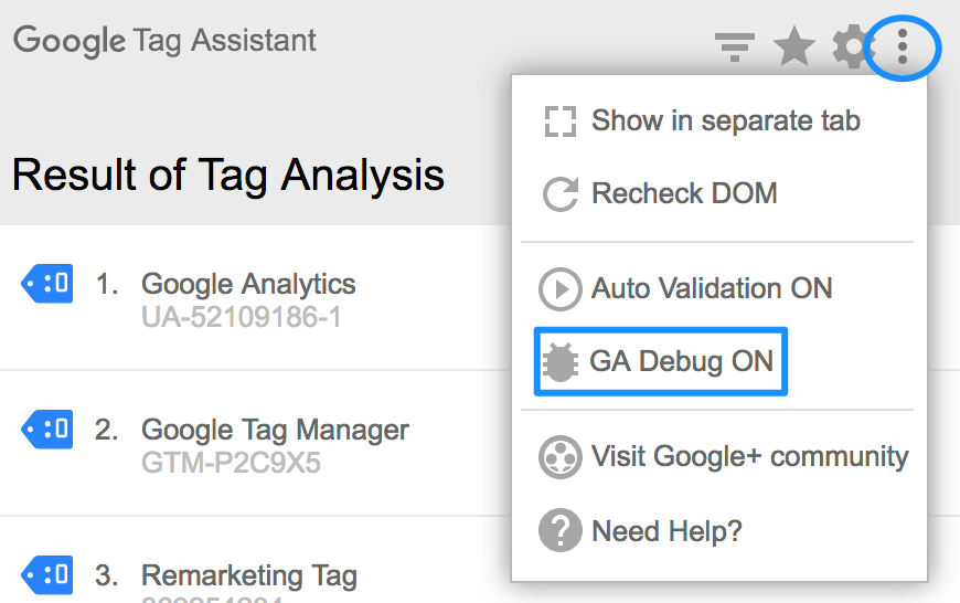 Tag assistant Analytics Debug
