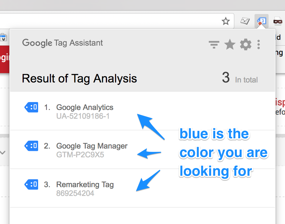 Tag assistant blue tags